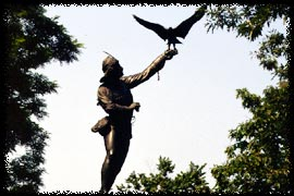 The Falconer statue in Central Park